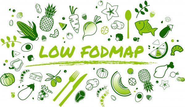 napis low fodmap otoczony zielonymi warzywami i owocami